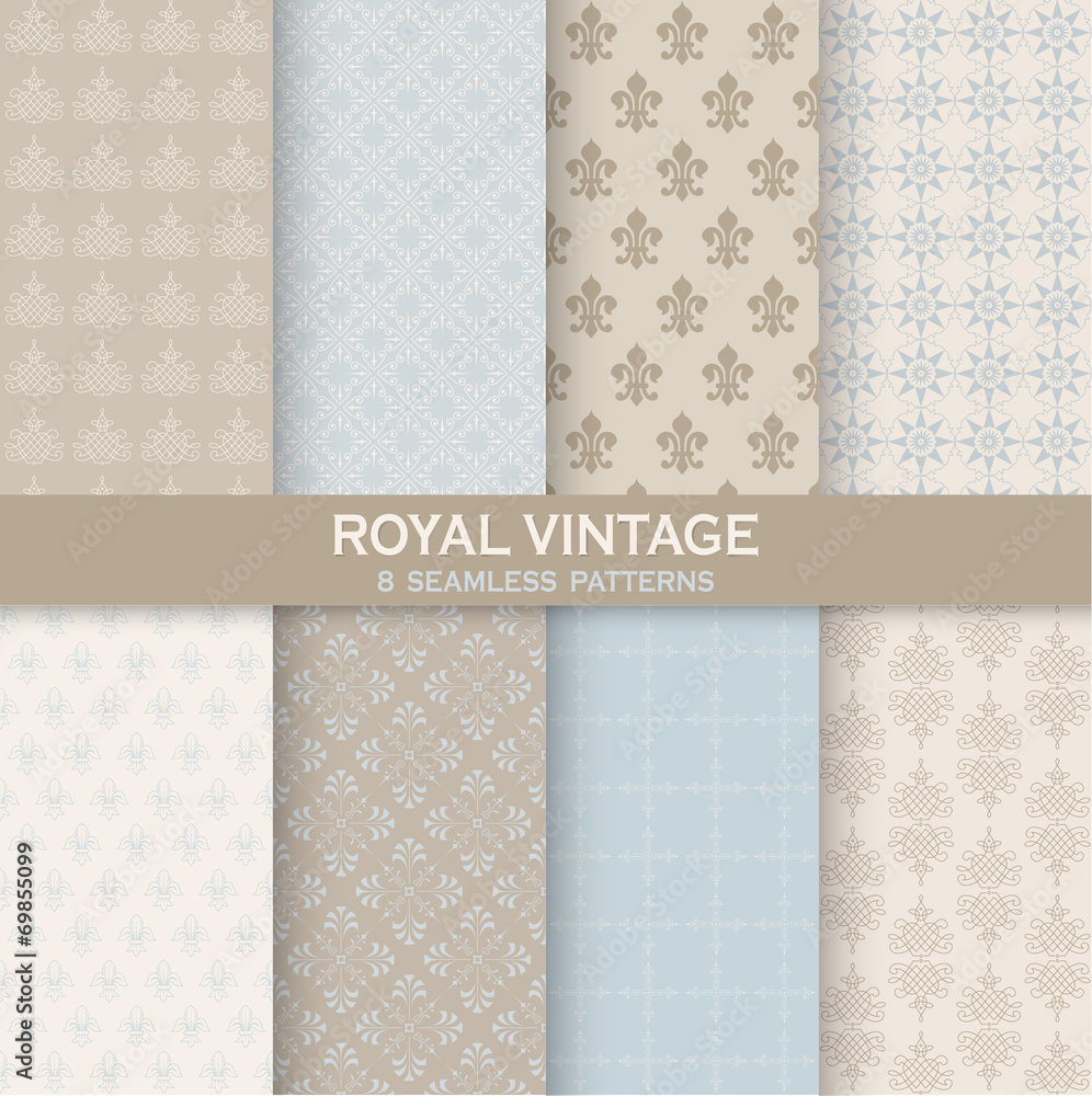8 Seamless Patterns - Royal Vintage Set - Texture for wallpaper