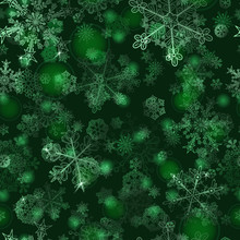 Seamless Pattern Of Snowflakes, In Green Colors