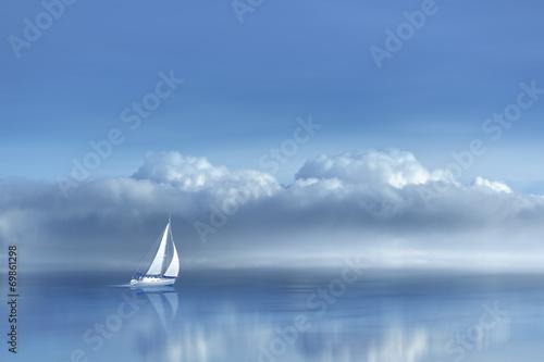 Naklejka na okno łazienkowe Samotny statek na spokojnym morzu