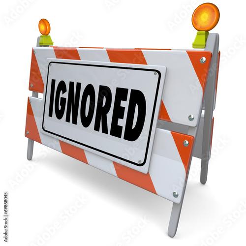Tela Ignored 3d Barricade Barrier Road Sign Avoiding Shunned Neglecte