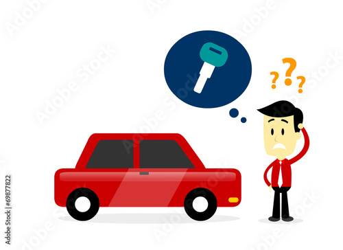 Staande foto Cartoon cars Man Missing A Car Key