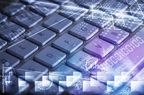 Fotografía  Keyboard with glowing programming codes