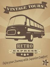 Vintage Bus Retro Advertising Poster