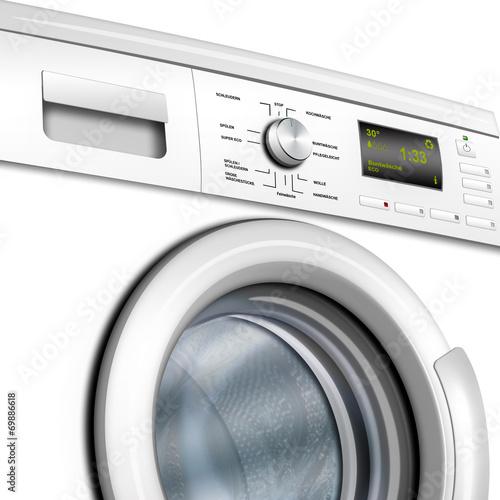 Waschmaschine, Waschvollautomat weiß , isoliert, freigestellt Плакат