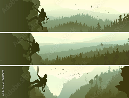 Set horizontal banners of alpinists. Canvas Print