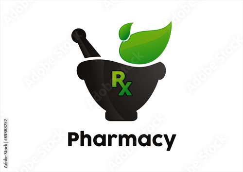 Photo  Rx pharmacy holding plant abstract green leaf logo design vector