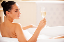 Champagne In Bubble Bath.