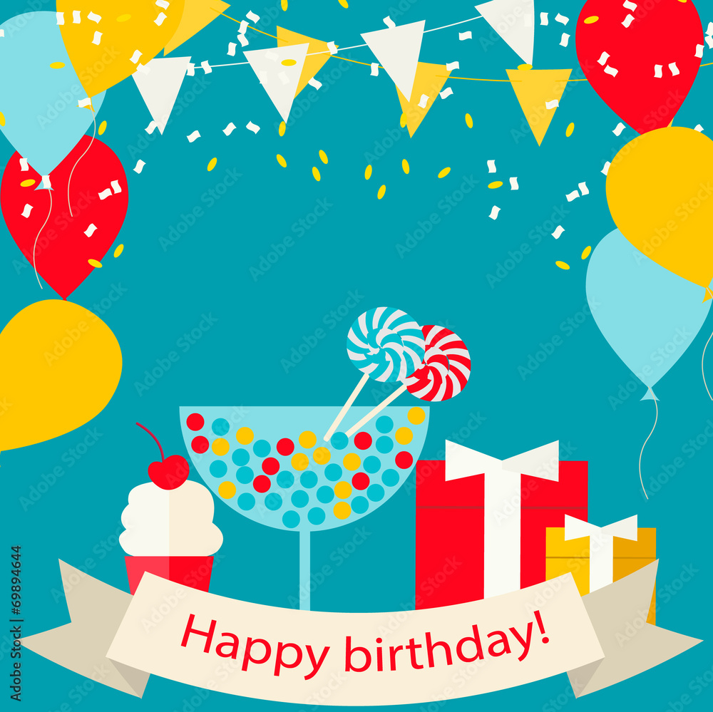 Happy Birthday Card With Sweets Gifts And Balloons Vector Illu Foto Poster Wandbilder Bei EuroPosters