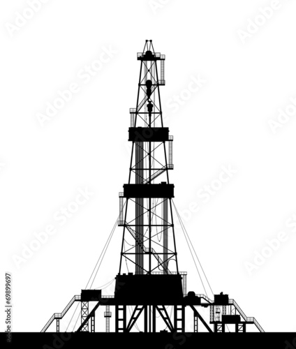 Fotografia  Oil rig silhouette isolated on white background.