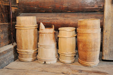 Many Old Wooden Buckets In The Old Hut. Sauna