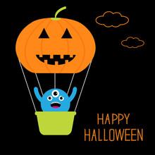 Pumpkin Hot Air Balloon Cute M...
