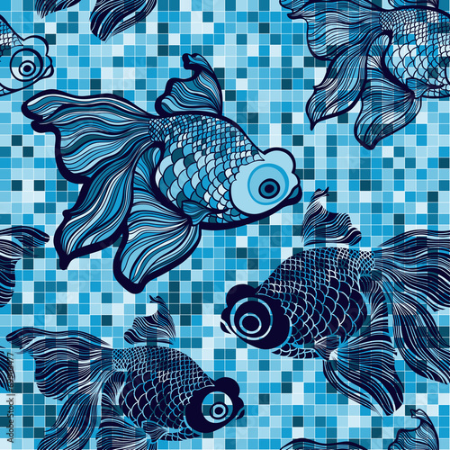 Seamless pattern with cartoon fish on the mosaic background. Canvas Print