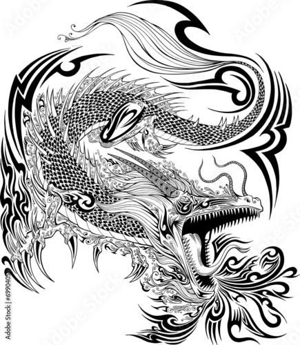 Türaufkleber Cartoon draw Dragon Doodle Sketch Tattoo Vector