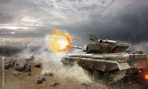Fotomural Heavy armor in the fire of battle