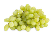 Closeup Of Big Bunch Of Fresh Green Table Grapes, Isolated