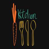 Doodle kitchen design. Cutlery vector illustration - 69925013