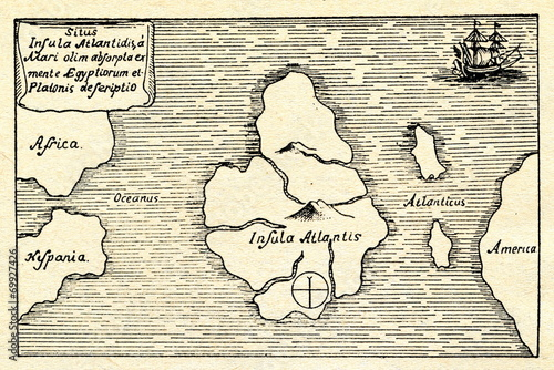 Photo Kircher's map of the Atlantis (south at the top)