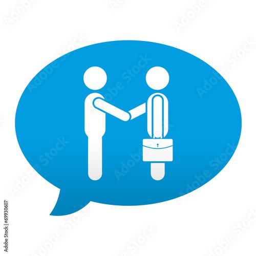 Fotografía  Etiqueta tipo app azul comentario simbolo negocios