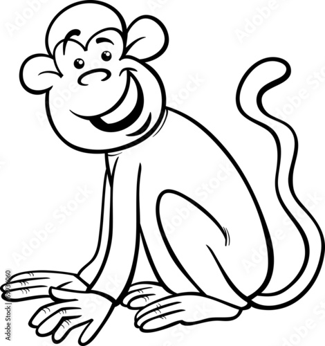 Funny Monkey Cartoon Coloring Page Buy This Stock Vector And