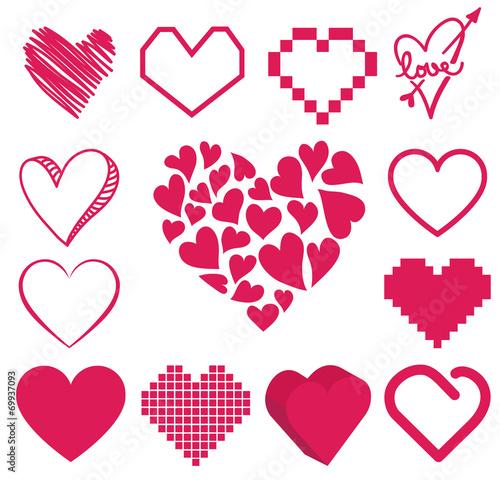 Foto op Aluminium Pixel set of heart vector