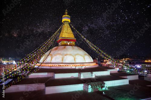 Fotografie, Tablou Bodhnath stupa at night