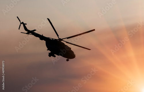Tuinposter Helicopter Ukrainian military helicopter in flight
