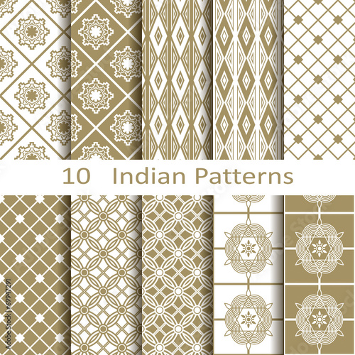 Türaufkleber Künstlich Set of ten Indian patterns