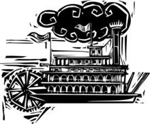 Woodcut Stern Wheel Riverboat