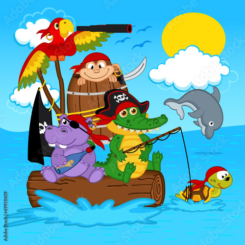 Foto op Plexiglas Zeemeermin animals pirates - vector illustration, eps
