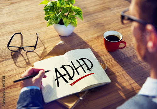 Photo Business Man with Notepad and ADHD Concepts