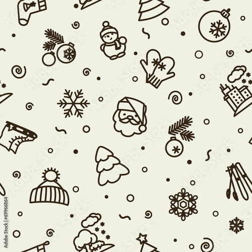 Cotton fabric Seamless texture - winter