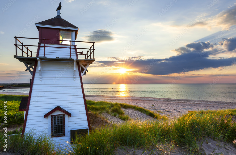 Fototapety, obrazy: Sunset at Covehead Harbour Lighthouse, PEI