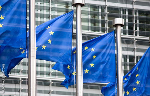EU flags in front of Berlaymont building