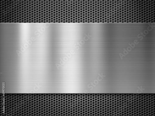 Türaufkleber Metall steel metal plate over grate background