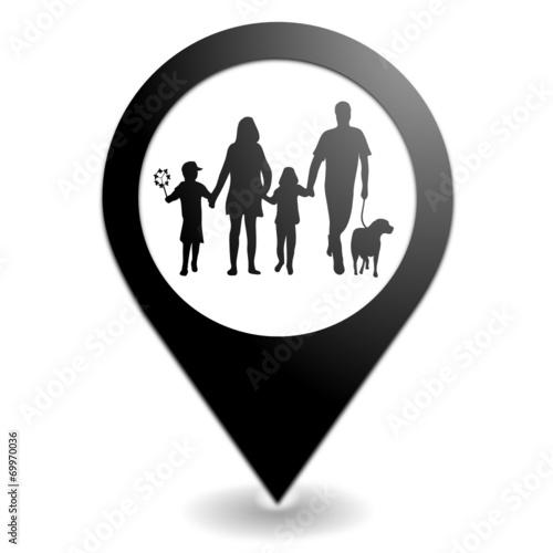 famille sur symbole localisation noir Wallpaper Mural