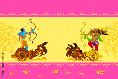 Fotomural Rama killing Ravana in Happy Dussehra
