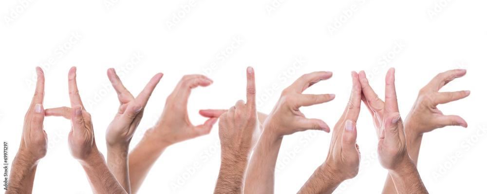 Fototapeta hands form the word hygiene