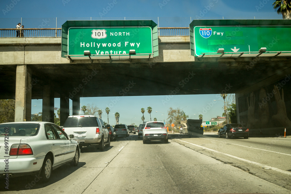Autoverkehr Hollywood 101 Autobahn Los Angeles POV Perspektive. Foto ...