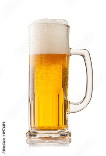 Door stickers Beer / Cider Glass of beer isolated on white background