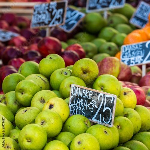 Green and red apples in local market in Copenhagen,Denmark. Poster