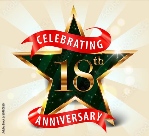 Photographie 18 year anniversary celebration golden star ribbon