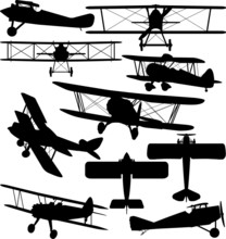 Silhouettes Of Old Aeroplane -...