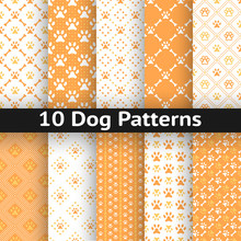 Set Of Dog Seamless Vector Pattern