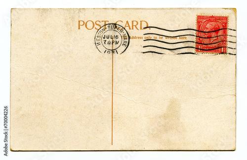 Fotografia  Vintage Postcard over a white background.