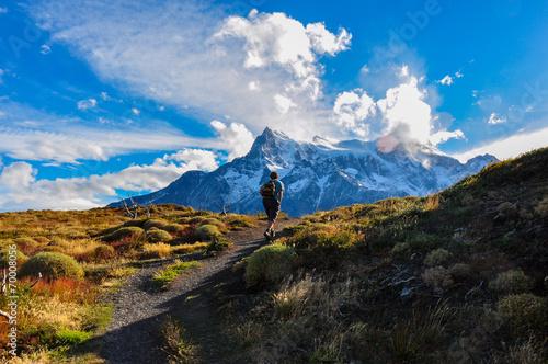 Trekking in Parque Nacional Torres del Paine, Chile Fototapet
