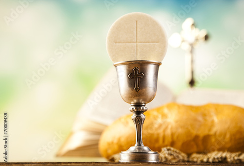 Fotografie, Obraz  Holy Communion Bread, Wine