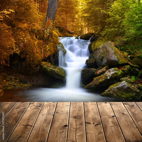 Recess Fitting Waterfalls Autumnal landscape with waterfall