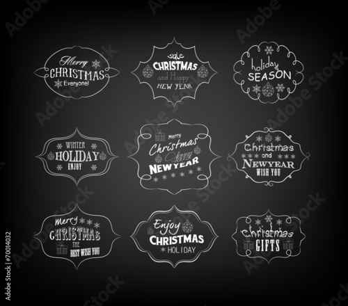 set of vintage retro christmas and new year labels
