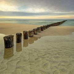 Panel Szklany Morze, plaża o wschodzie słońca