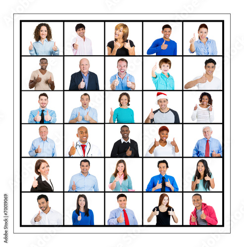 Fototapety, obrazy: Group of people giving thumbs up isolated on white background